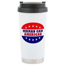 OvalStickerHermanCainAmerican Travel Mug