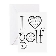 I love golf, white grenouille Greeting Card