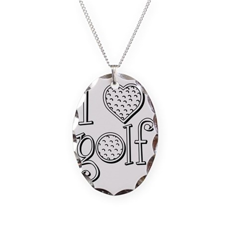 I love golf, black grenouille Necklace Oval Charm