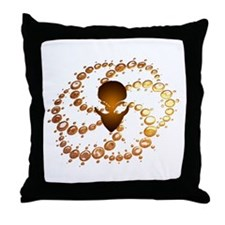 Brown Crop Circle with Alien  Throw Pillow