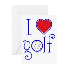 I love golf, on blackRWB grenouille Greeting Card