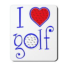I love golf, on blackRWB grenouille Mousepad