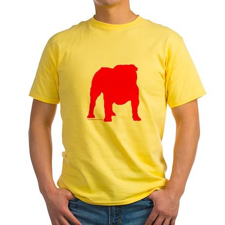 Red Bulldog Silhoutte Yellow T-Shirt