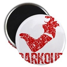 distressed parkour red Magnet