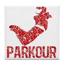 distressed parkour red Tile Coaster
