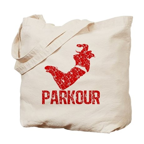 distressed parkour red Tote Bag