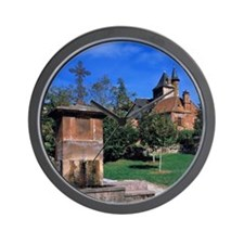 Collonges-la-Rouge. The red-sandstone v Wall Clock