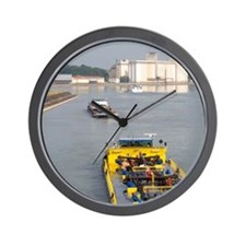 Barge on the Rhine River between France Wall Clock