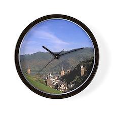 Bacharach. Beautiful Rhine River and wi Wall Clock