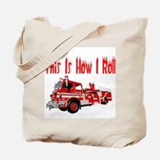 How I Roll- Fire Truck Tote Bag