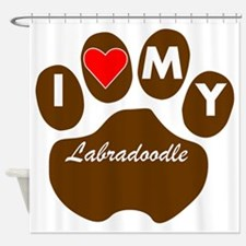 I Heart My Labradoodle Shower Curtain