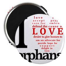 i love orphans BLACK red LARGE Magnet