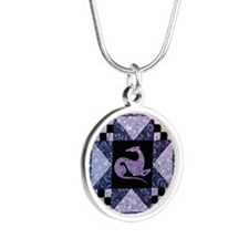 Purple Star Silver Round Necklace