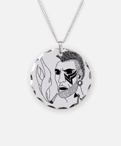 Modern Day Mohawk Necklace Circle Charm