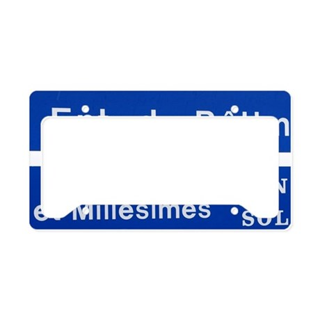 A blue road sign saying Wine License Plate Holder