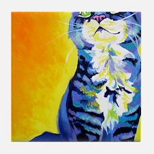 cat - kitten stripes - P Tile Coaster