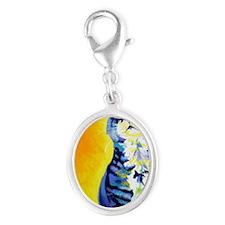 cat - kitten stripes - P Silver Oval Charm