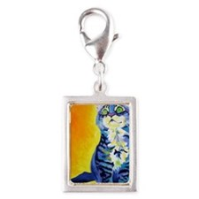 cat - kitten stripes - P Silver Portrait Charm