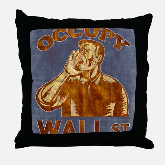 Occupy Wall Street American Worker Throw Pillow