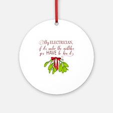 mistletoeE Round Ornament