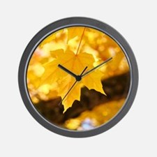 Autumn Leaves 53 Yellow Golden Glowing  Wall Clock