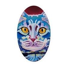 cat - mystery reboot Oval Car Magnet