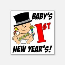 """Babys First New Years Square Sticker 3"""" x 3"""""""