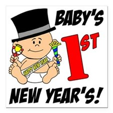 "Babys First New Years Square Car Magnet 3"" x 3"""