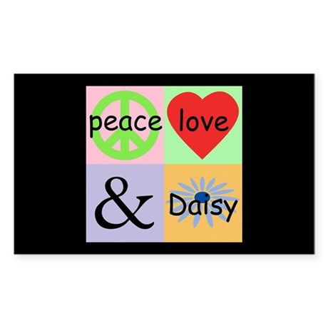 """Peace Love & Daisy"" Rectangle Sticker"