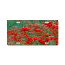 Red poppies bloom in a gree Aluminum License Plate