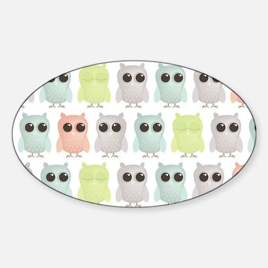 owlets_pattern_coinpurse Sticker (Oval)