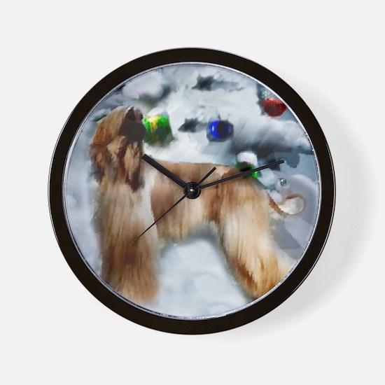 afghan hound christmas square Wall Clock