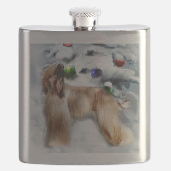 afghan hound christmas square Flask