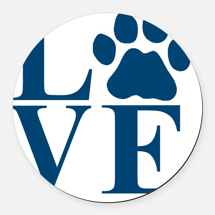 Love Paw Round Car Magnet