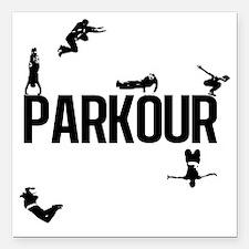 """parkour4 Square Car Magnet 3"""" x 3"""""""