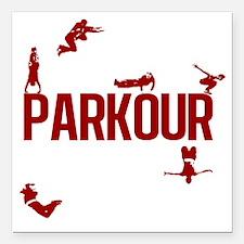 """parkour4-3 Square Car Magnet 3"""" x 3"""""""