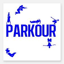 """parkour4-4 Square Car Magnet 3"""" x 3"""""""