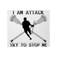 Lacrosse Attackman Throw Blanket