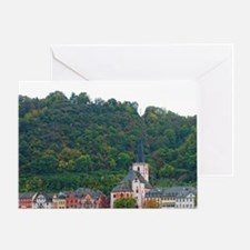 Germany. Wine country village on Rhi Greeting Card