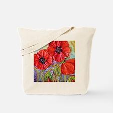 Paris Red Poppies Tote Bag