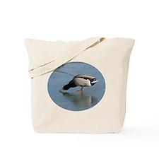 Mallard Duck on Ice Tote Bag