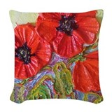 Red poppy Throw Pillows