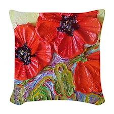 paris red poppies Woven Throw Pillow