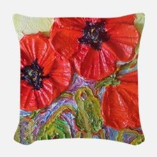 paris red poppies Woven Throw Pillow