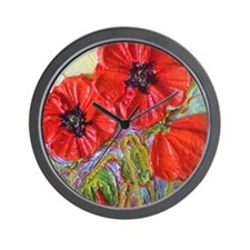 paris red poppies Wall Clock