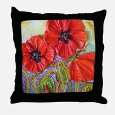 paris red poppies Throw Pillow