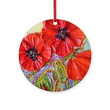 paris red poppies Round Ornament