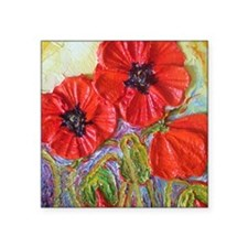 "paris red poppies Square Sticker 3"" x 3"""