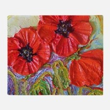 paris red poppies Throw Blanket