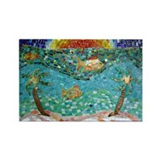 Cute Beach sunset palm trees fish mosaic smalti clay Rectangle Magnet (10 pack)